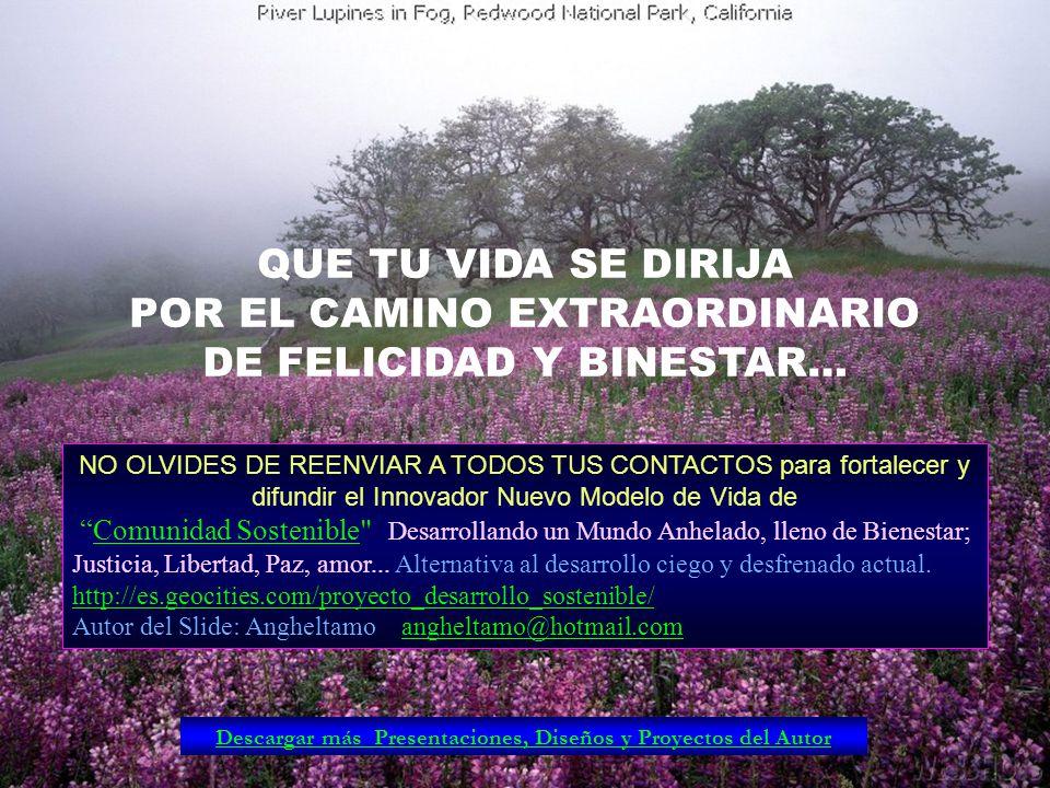 POR EL CAMINO EXTRAORDINARIO DE FELICIDAD Y BINESTAR…