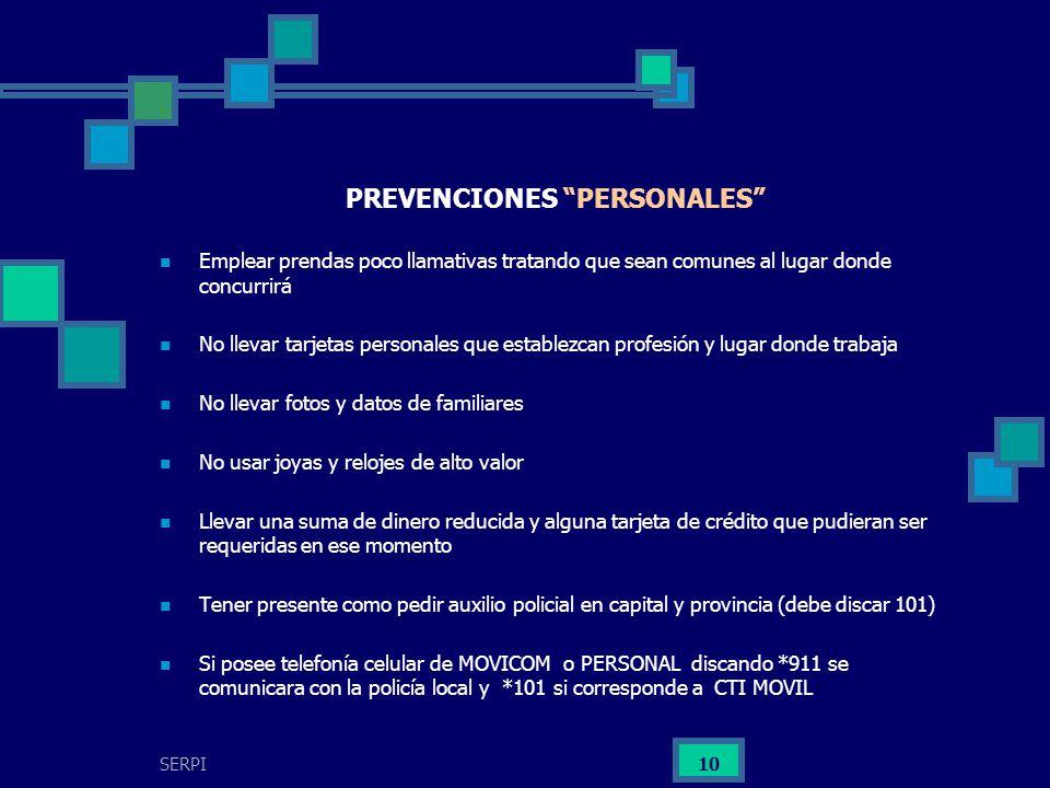 PREVENCIONES PERSONALES