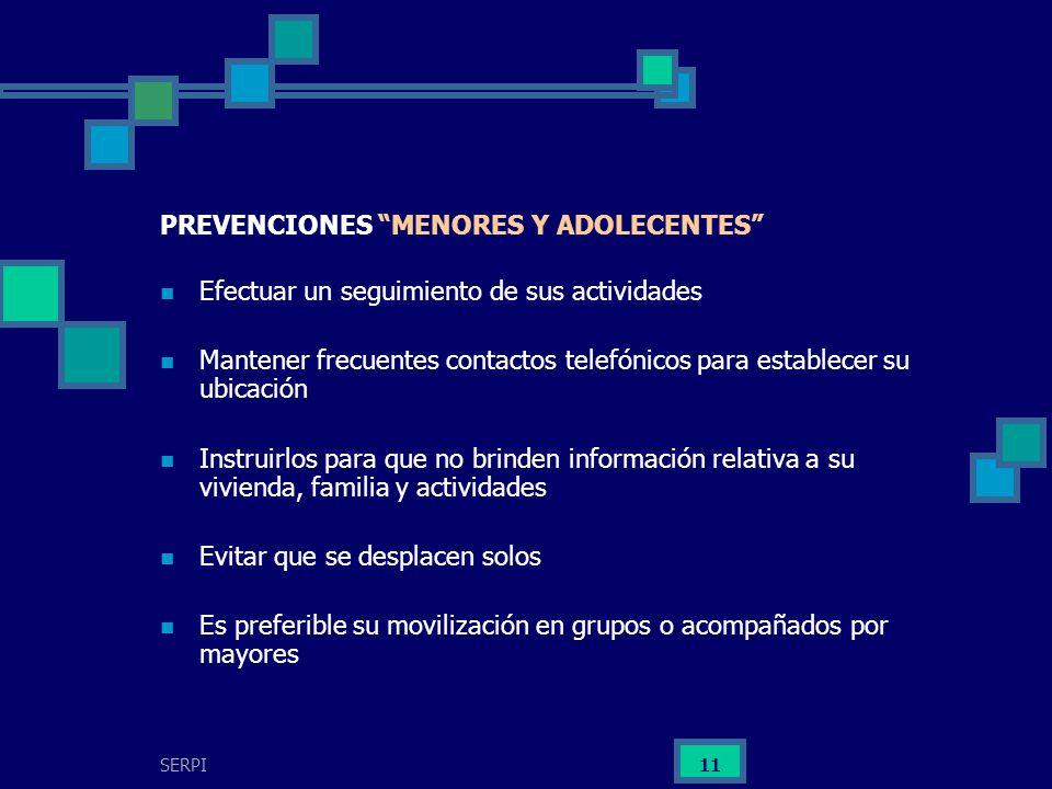 PREVENCIONES MENORES Y ADOLECENTES