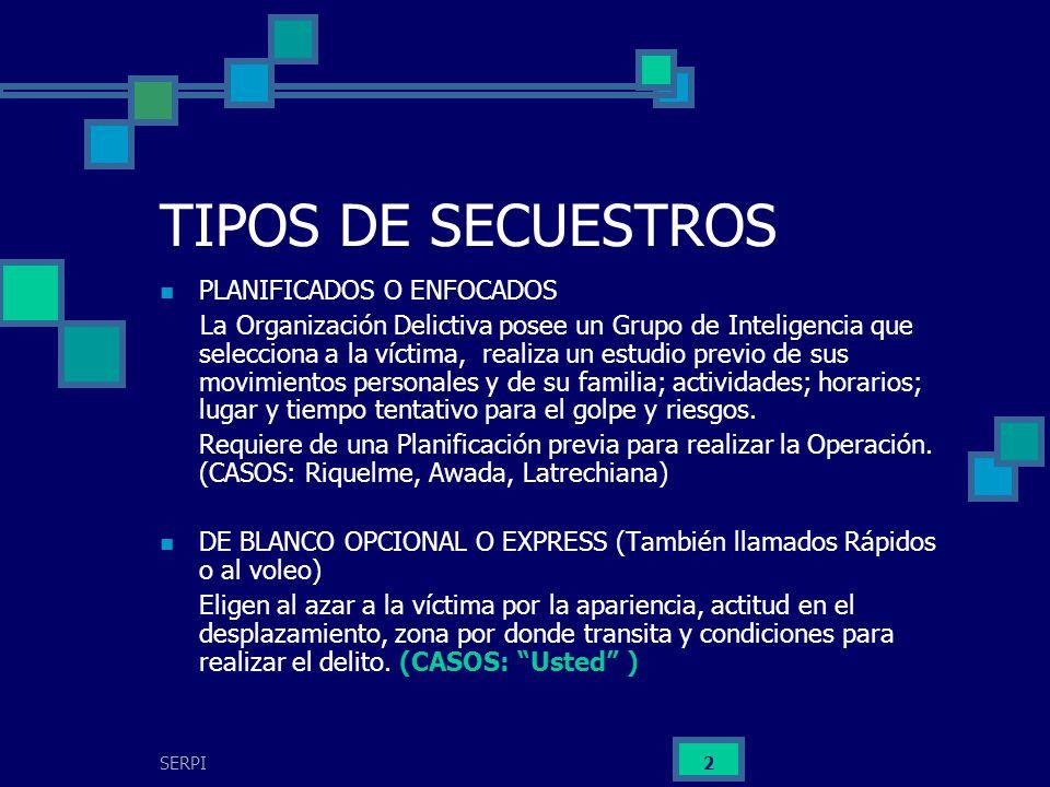 TIPOS DE SECUESTROS PLANIFICADOS O ENFOCADOS