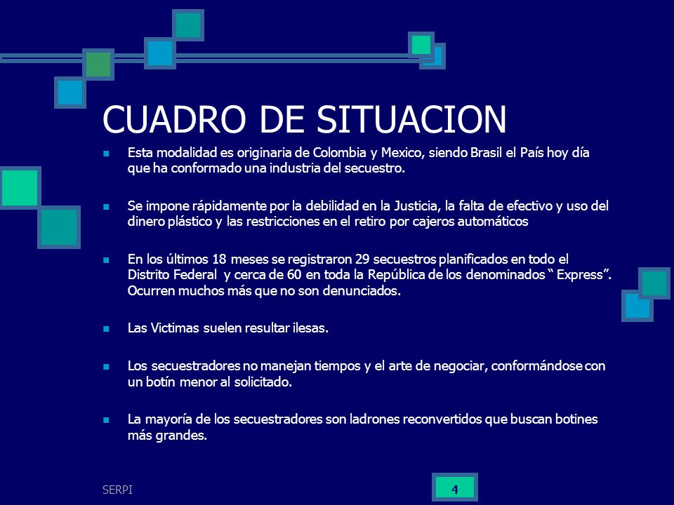 CUADRO DE SITUACION Esta modalidad es originaria de Colombia y Mexico, siendo Brasil el País hoy día que ha conformado una industria del secuestro.