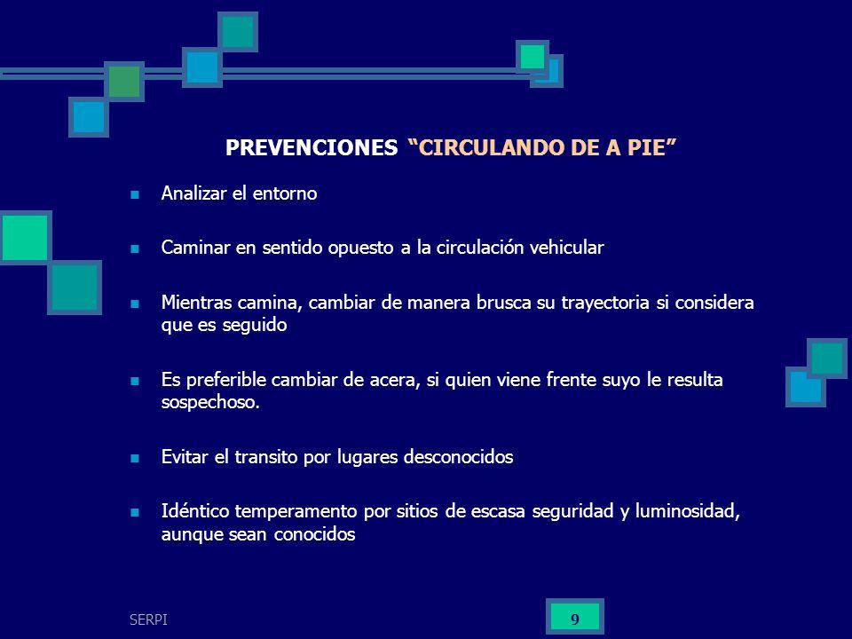 PREVENCIONES CIRCULANDO DE A PIE