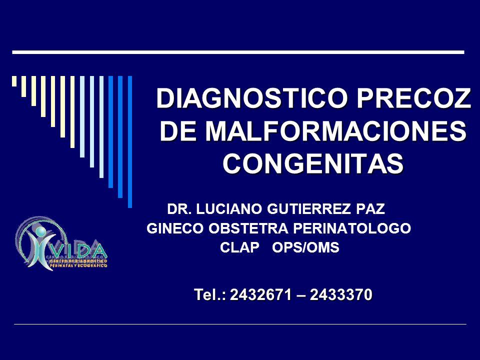 DIAGNOSTICO PRECOZ DE MALFORMACIONES CONGENITAS