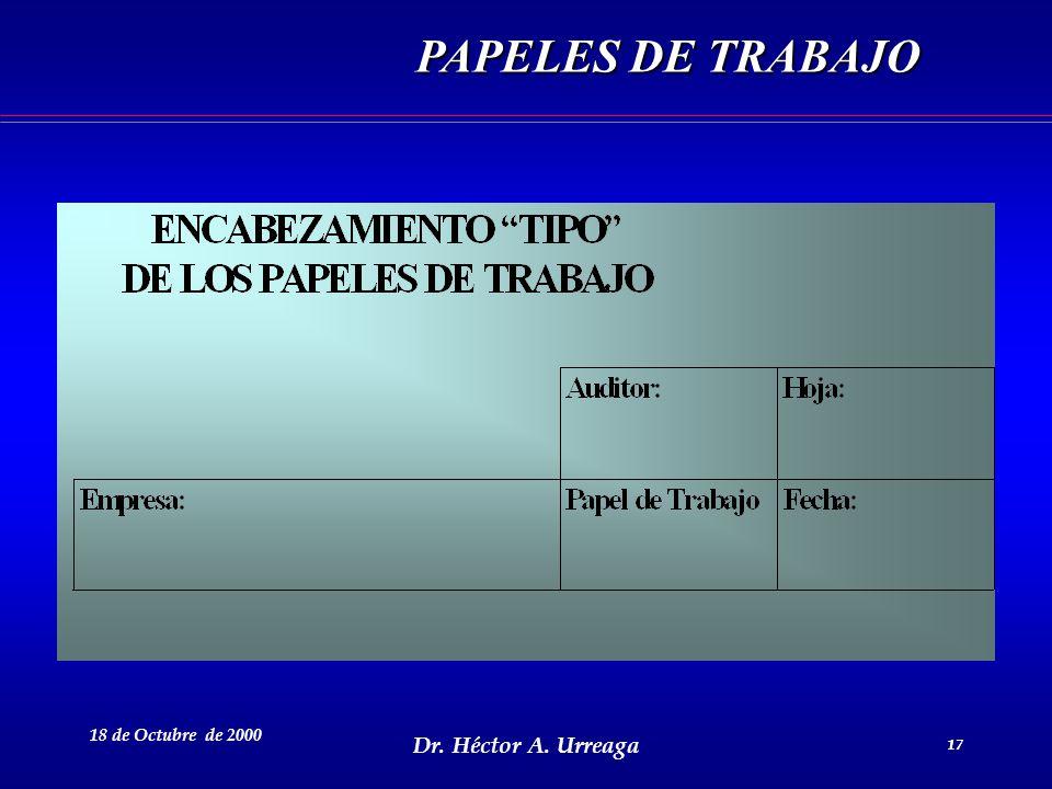 PAPELES DE TRABAJO 18 de Octubre de 2000