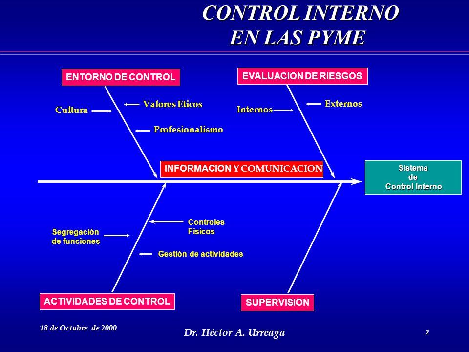 CONTROL INTERNO EN LAS PYME