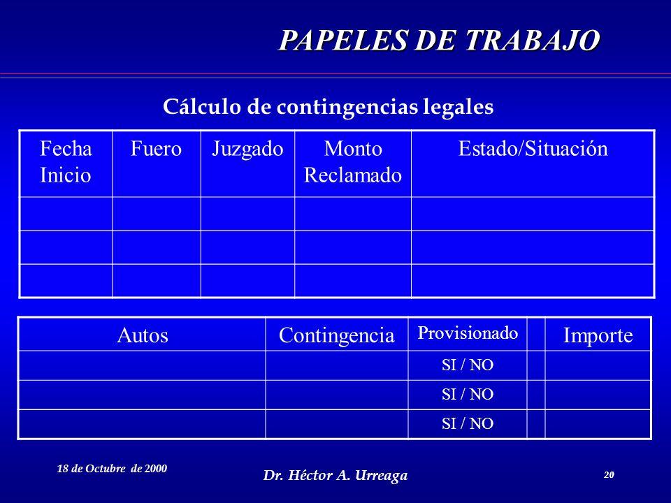 Cálculo de contingencias legales
