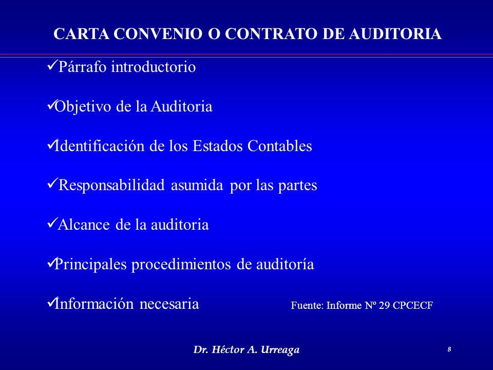CARTA CONVENIO O CONTRATO DE AUDITORIA