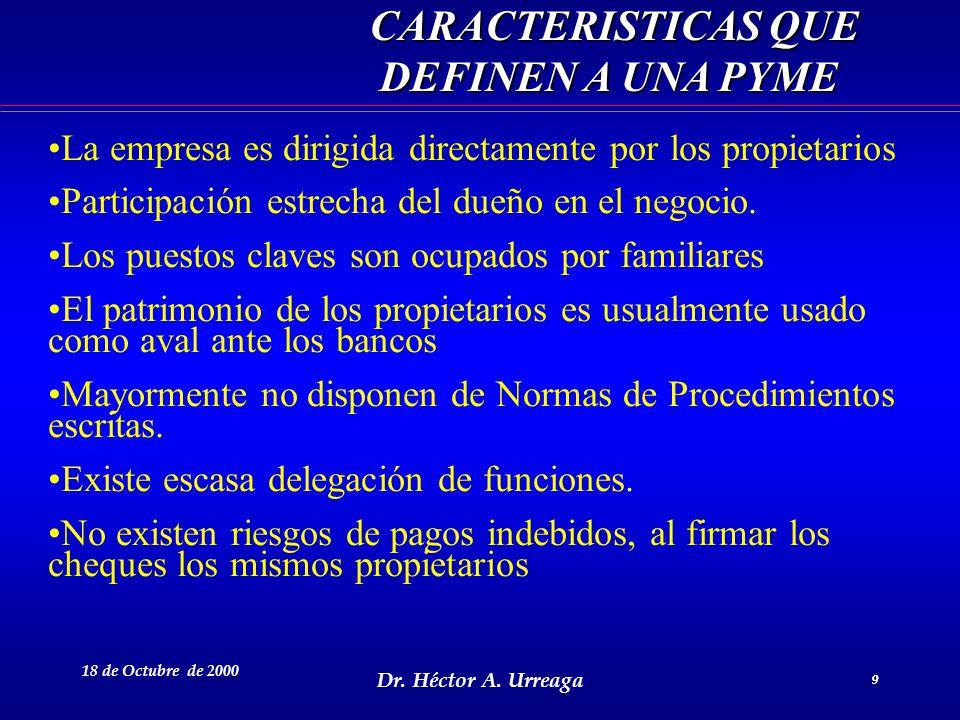 CARACTERISTICAS QUE DEFINEN A UNA PYME