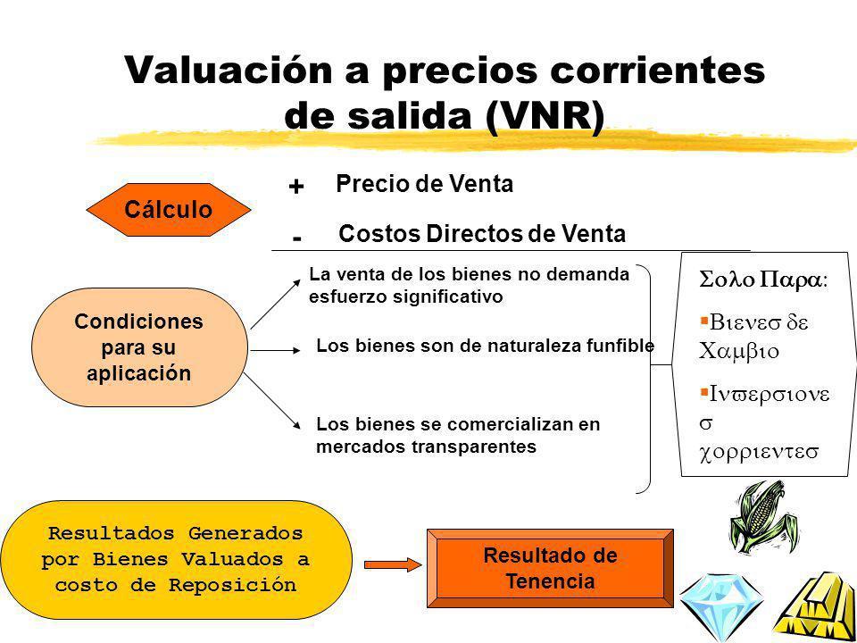 Valuación a precios corrientes de salida (VNR)
