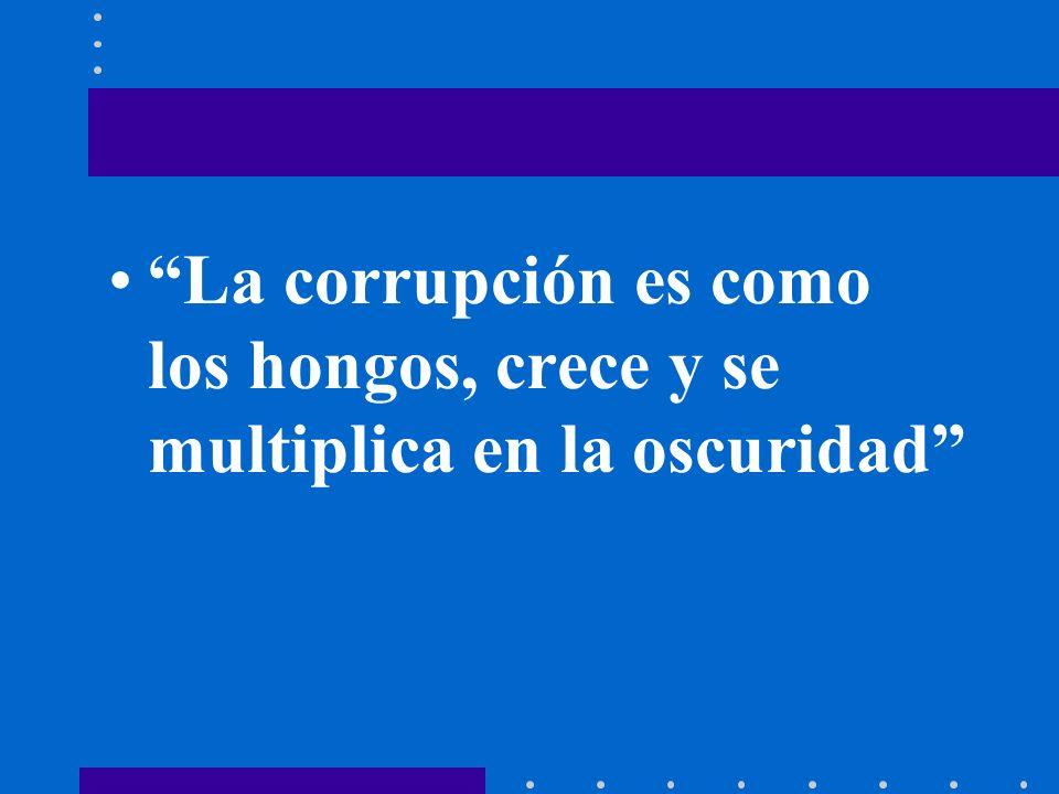 La corrupción es como los hongos, crece y se multiplica en la oscuridad