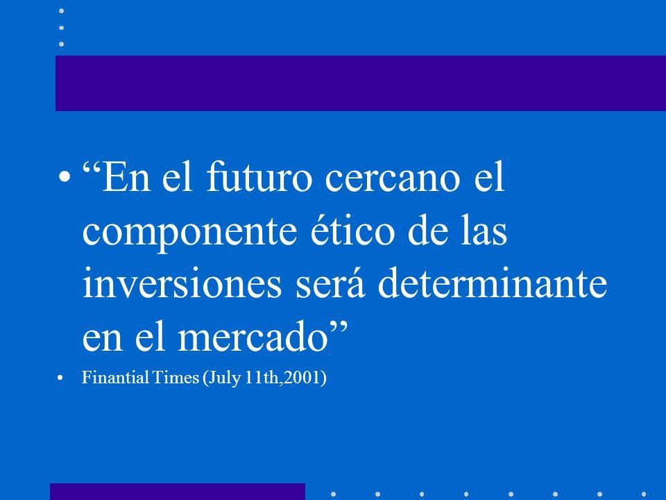 En el futuro cercano el componente ético de las inversiones será determinante en el mercado