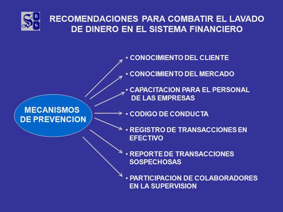 RECOMENDACIONES PARA COMBATIR EL LAVADO DE DINERO EN EL SISTEMA FINANCIERO