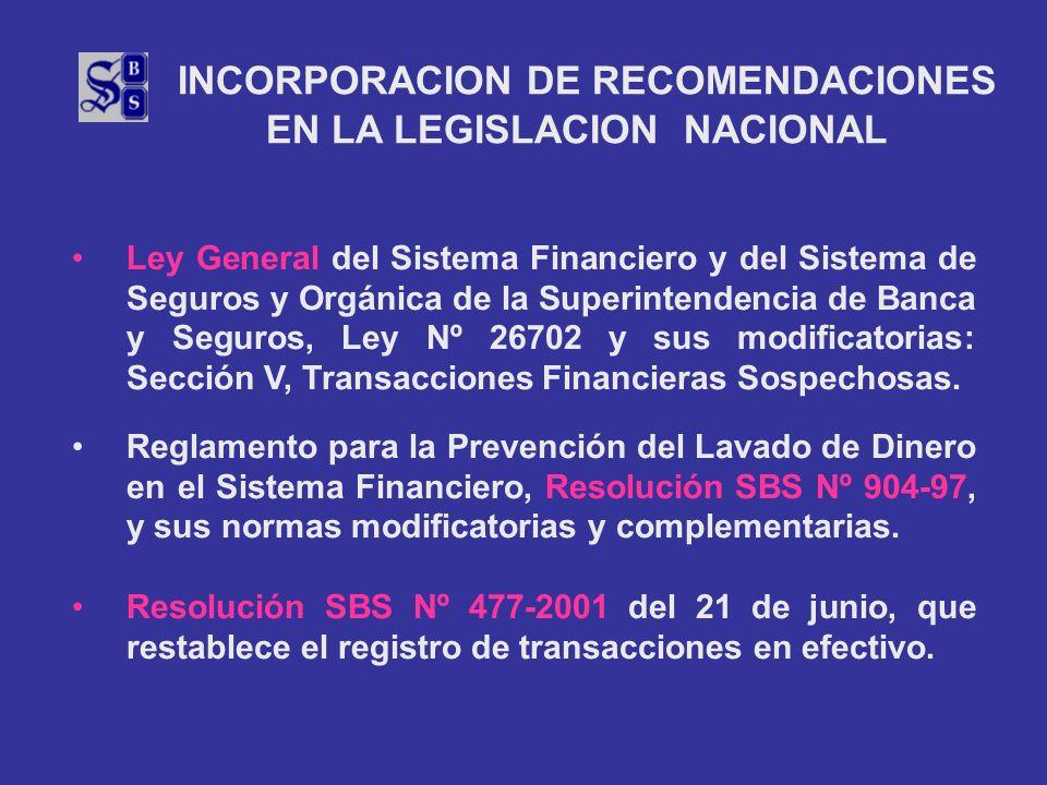 INCORPORACION DE RECOMENDACIONES EN LA LEGISLACION NACIONAL