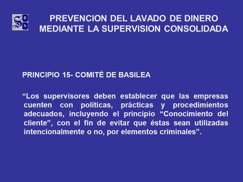 PREVENCION DEL LAVADO DE DINERO MEDIANTE LA SUPERVISION CONSOLIDADA