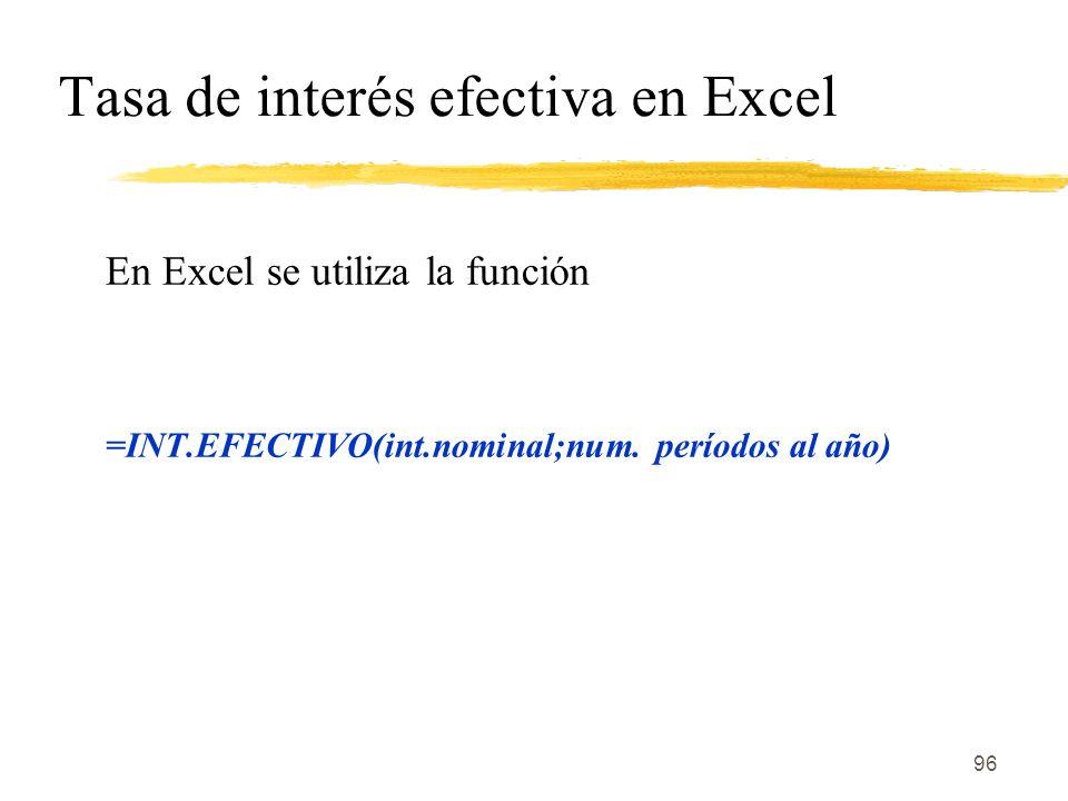 Tasa de interés efectiva en Excel