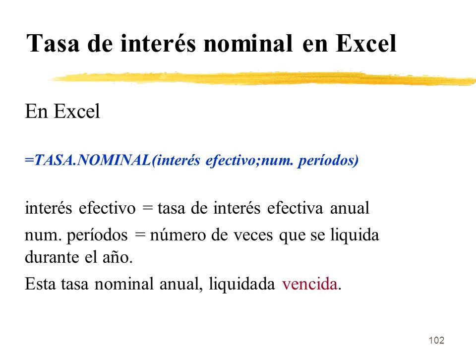 Tasa de interés nominal en Excel