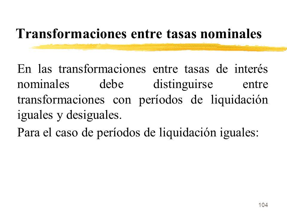 Transformaciones entre tasas nominales