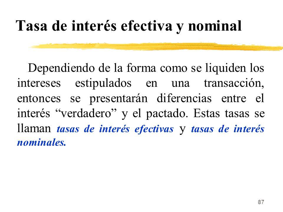 Tasa de interés efectiva y nominal