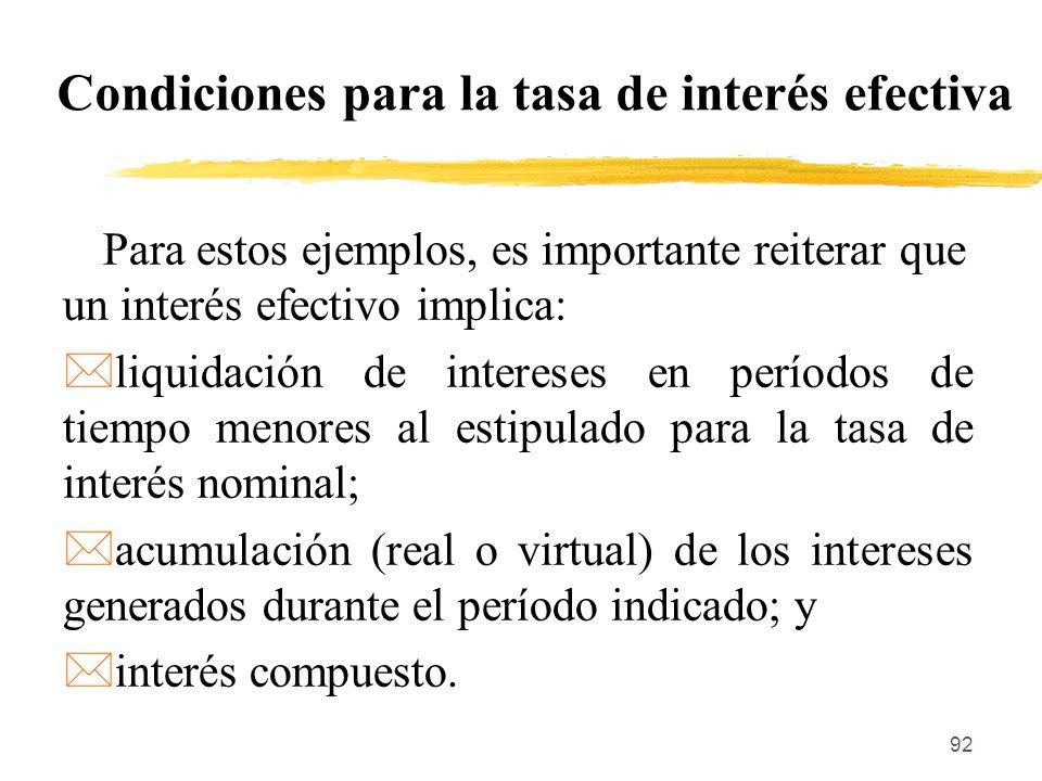 Condiciones para la tasa de interés efectiva