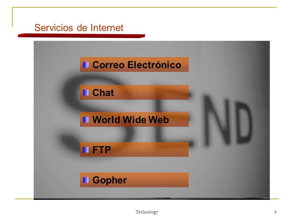Servicios de Internet Correo Electrónico Chat World Wide Web FTP