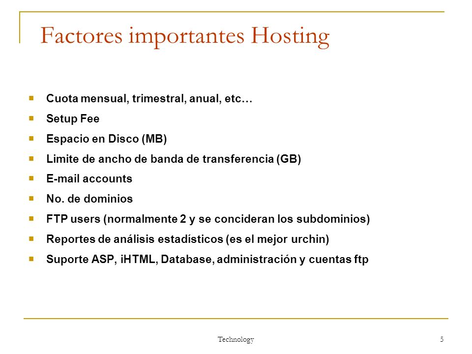 Factores importantes Hosting