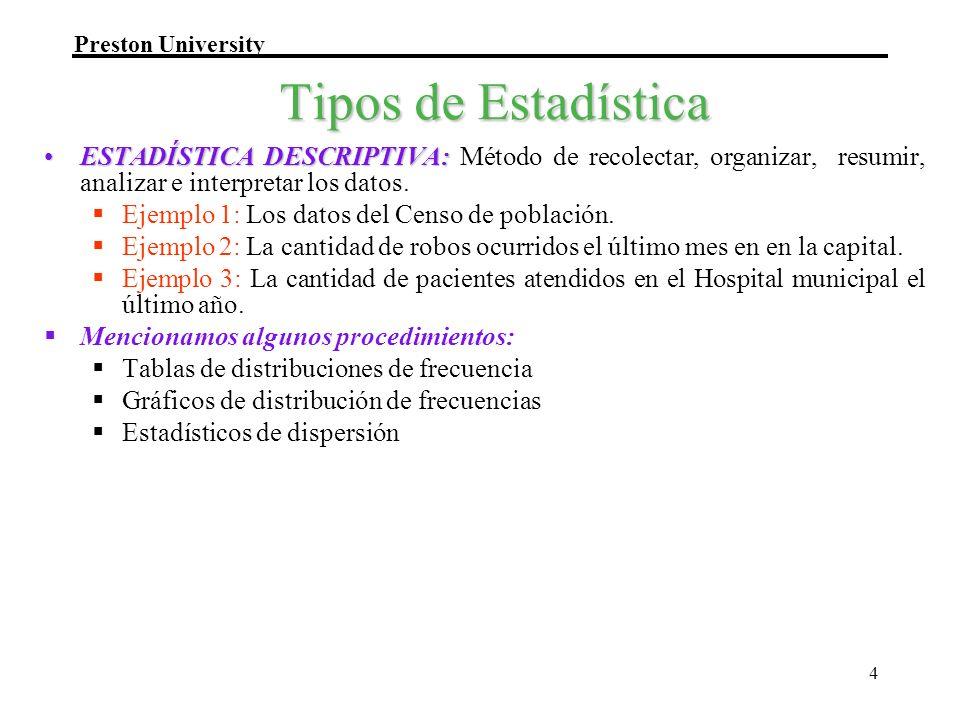 Tipos de Estadística ESTADÍSTICA DESCRIPTIVA: Método de recolectar, organizar, resumir, analizar e interpretar los datos.