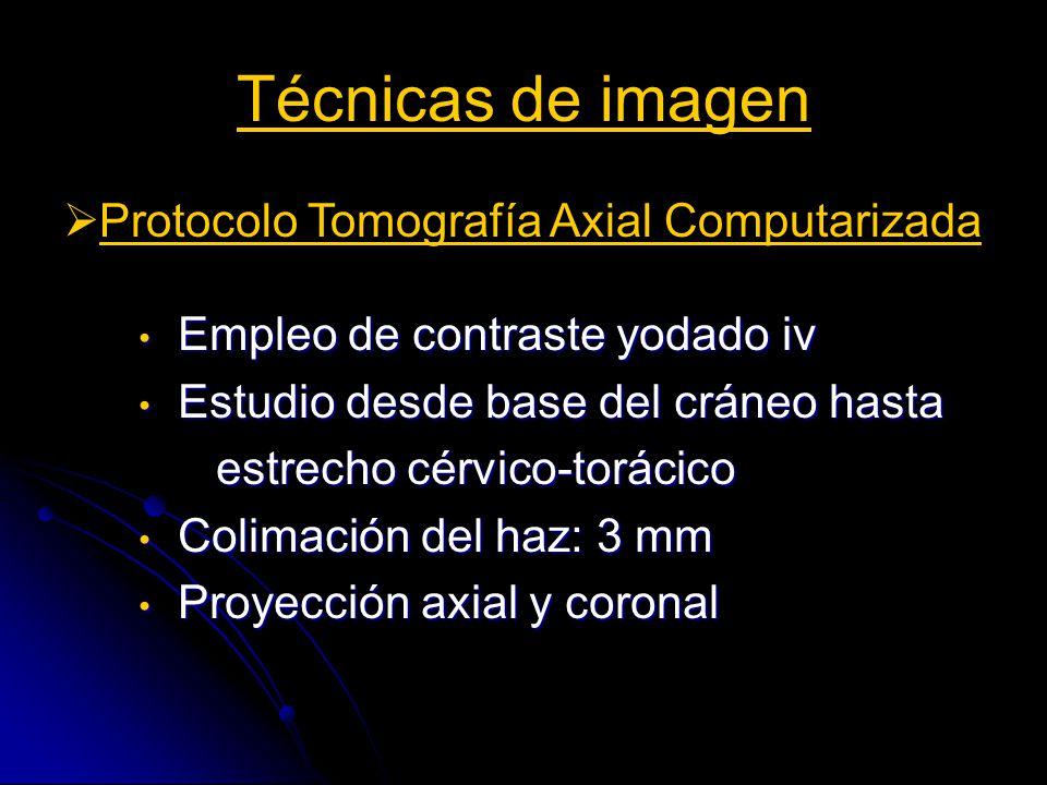 Técnicas de imagen Protocolo Tomografía Axial Computarizada