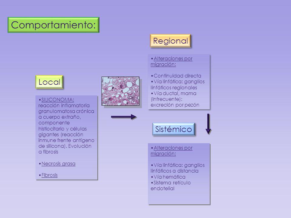 Comportamiento: Regional Local Sistémico Alteraciones por migración: