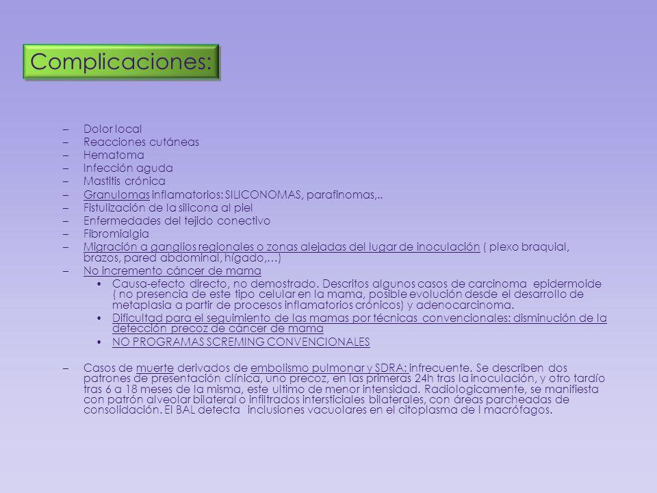 Complicaciones: Dolor local Reacciones cutáneas Hematoma