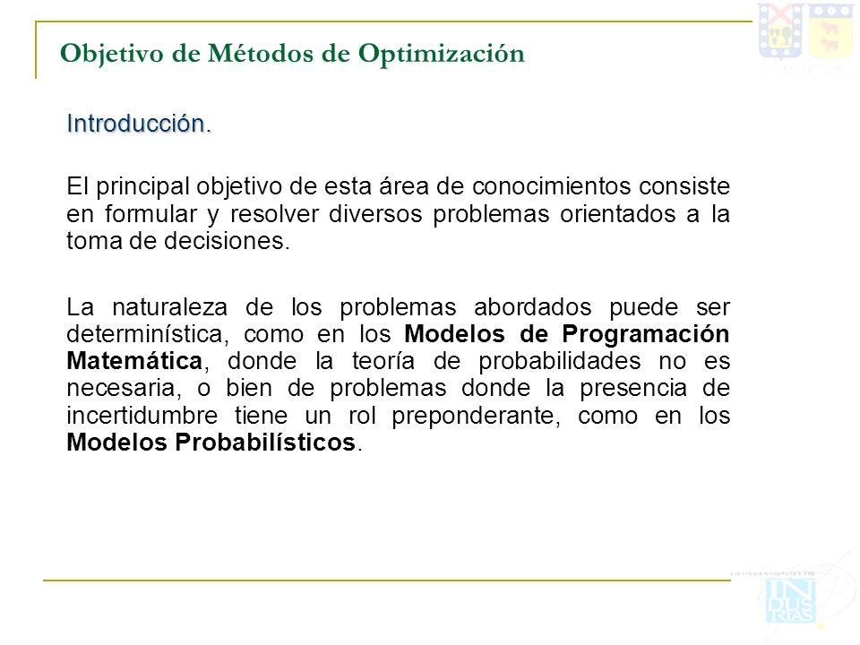 Objetivo de Métodos de Optimización