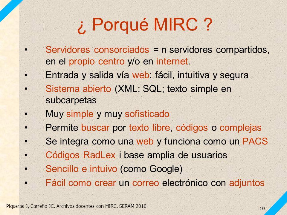 ¿ Porqué MIRC Servidores consorciados = n servidores compartidos, en el propio centro y/o en internet.