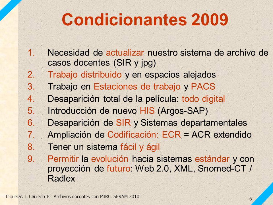 Condicionantes 2009 Necesidad de actualizar nuestro sistema de archivo de casos docentes (SIR y jpg)