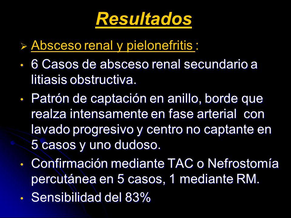 Resultados Absceso renal y pielonefritis :