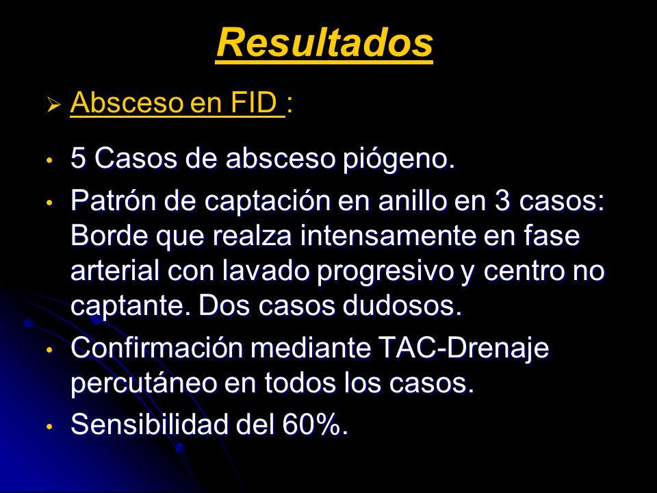 Resultados Absceso en FID : 5 Casos de absceso piógeno.