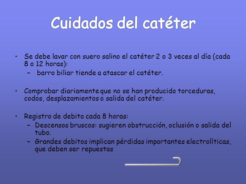 Cuidados del catéter Se debe lavar con suero salino el catéter 2 o 3 veces al día (cada 8 o 12 horas):
