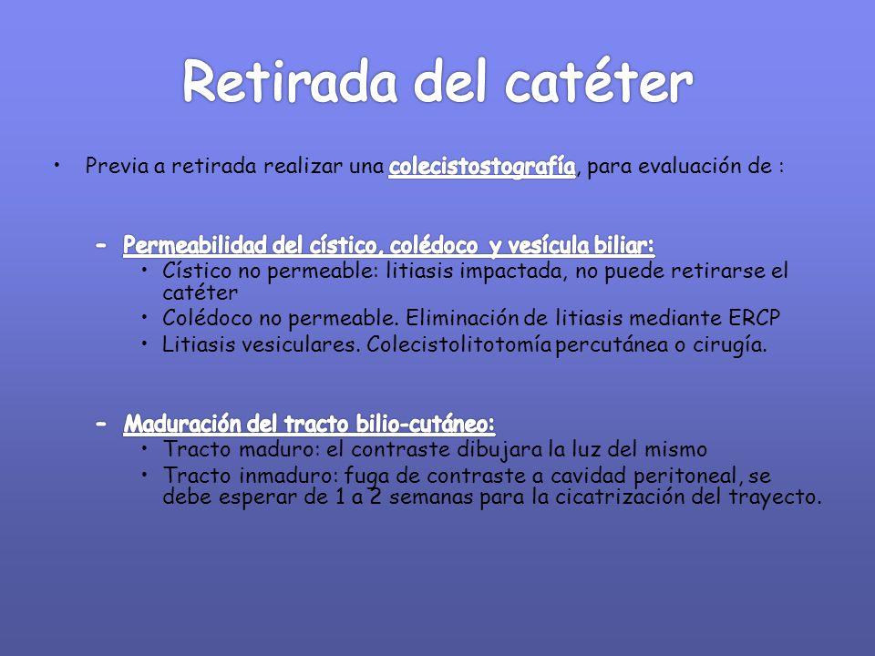 Retirada del catéter Previa a retirada realizar una colecistostografía, para evaluación de : Permeabilidad del cístico, colédoco y vesícula biliar: