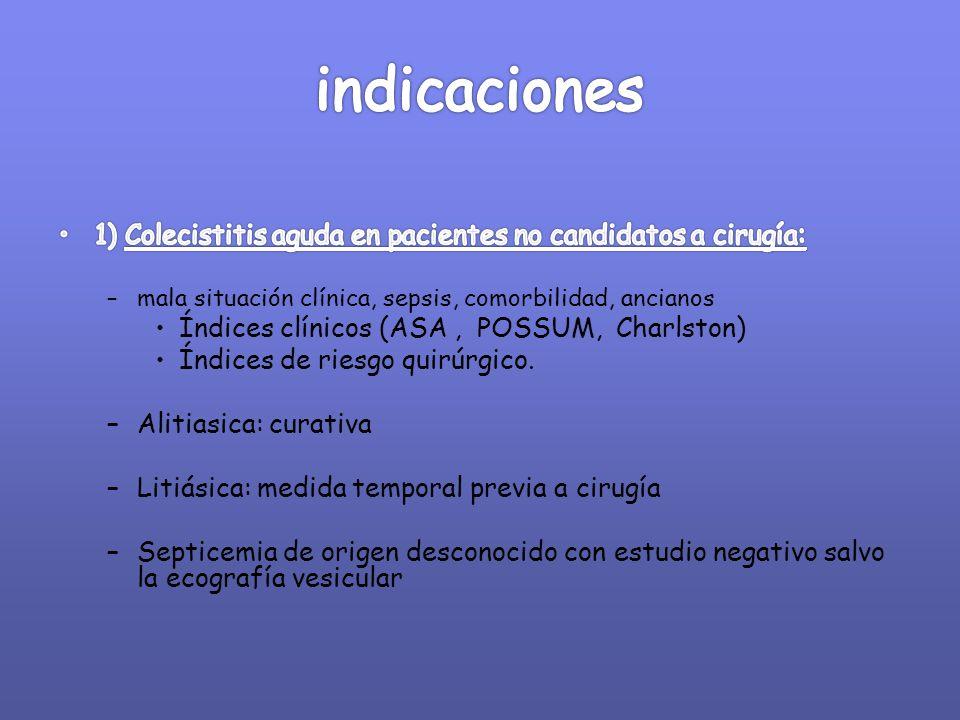 indicaciones 1) Colecistitis aguda en pacientes no candidatos a cirugía: mala situación clínica, sepsis, comorbilidad, ancianos.