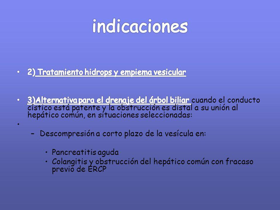 indicaciones 2) Tratamiento hidrops y empiema vesicular