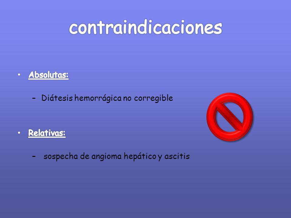 contraindicaciones Absolutas: Diátesis hemorrágica no corregible