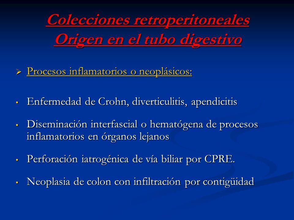 Colecciones retroperitoneales Origen en el tubo digestivo