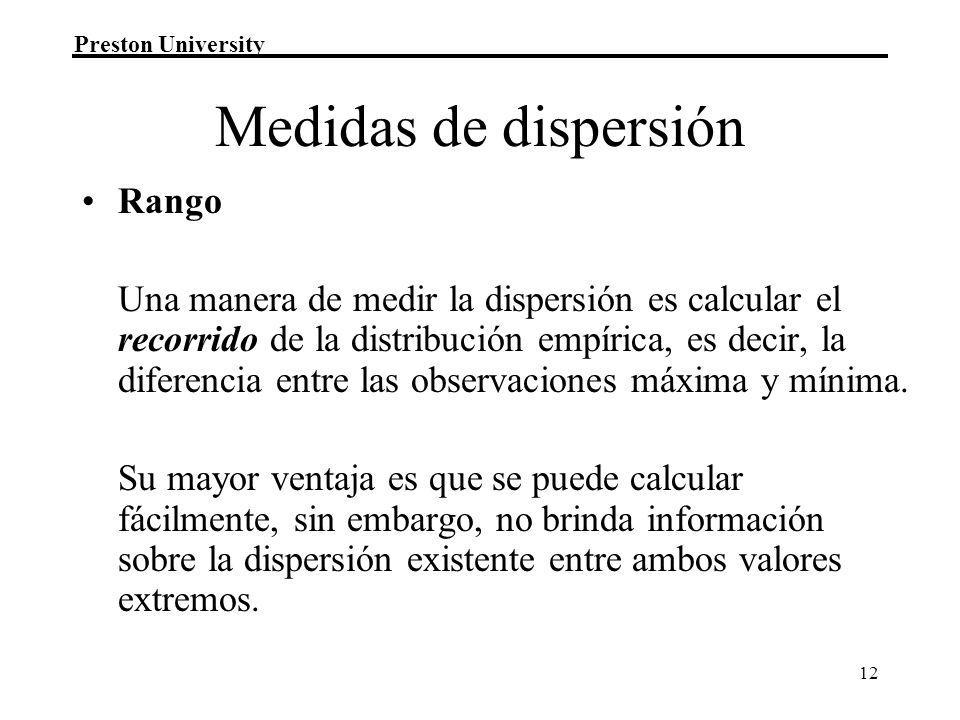 Medidas de dispersión Rango