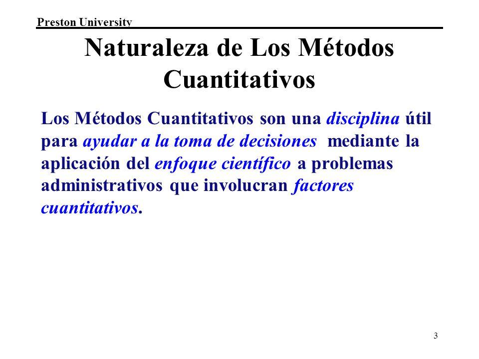 Naturaleza de Los Métodos Cuantitativos