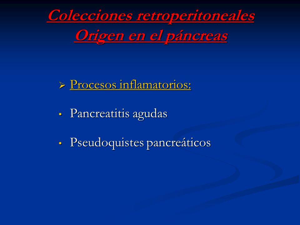 Colecciones retroperitoneales Origen en el páncreas