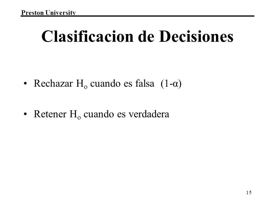 Clasificacion de Decisiones