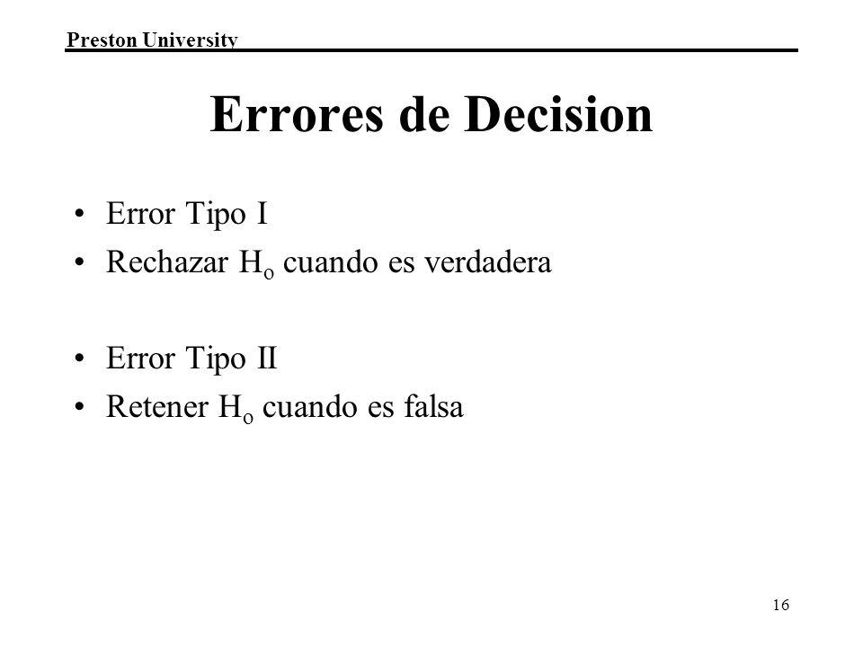 Errores de Decision Error Tipo I Rechazar Ho cuando es verdadera