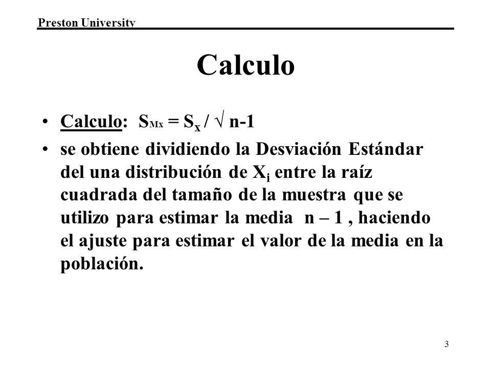 Calculo Calculo: SMx = Sx / √ n-1