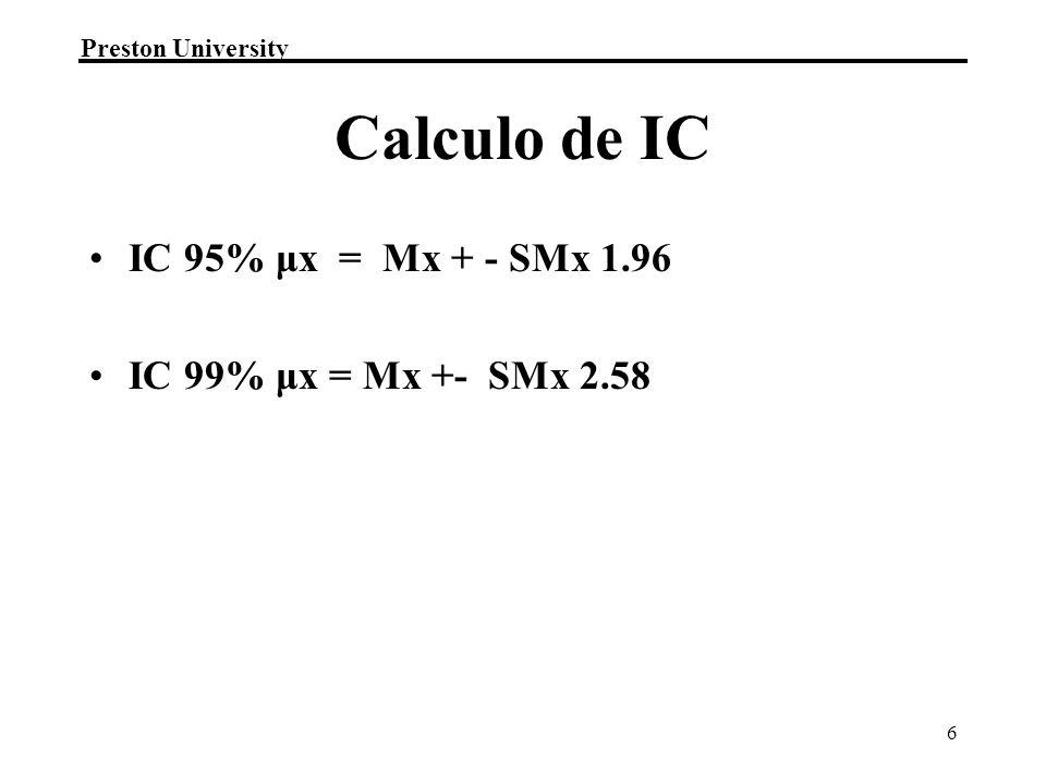 Calculo de IC IC 95% μx = Mx + - SMx 1.96 IC 99% μx = Mx +- SMx 2.58