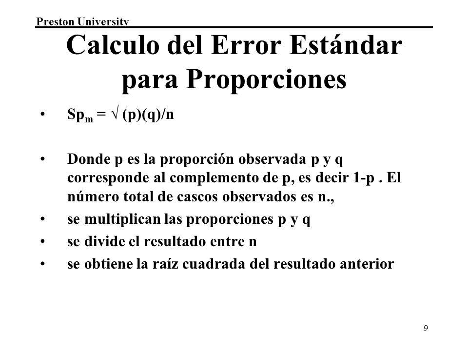 Calculo del Error Estándar para Proporciones