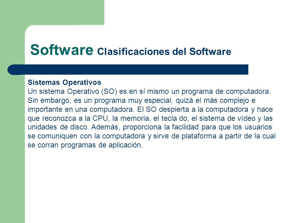 Software Clasificaciones del Software