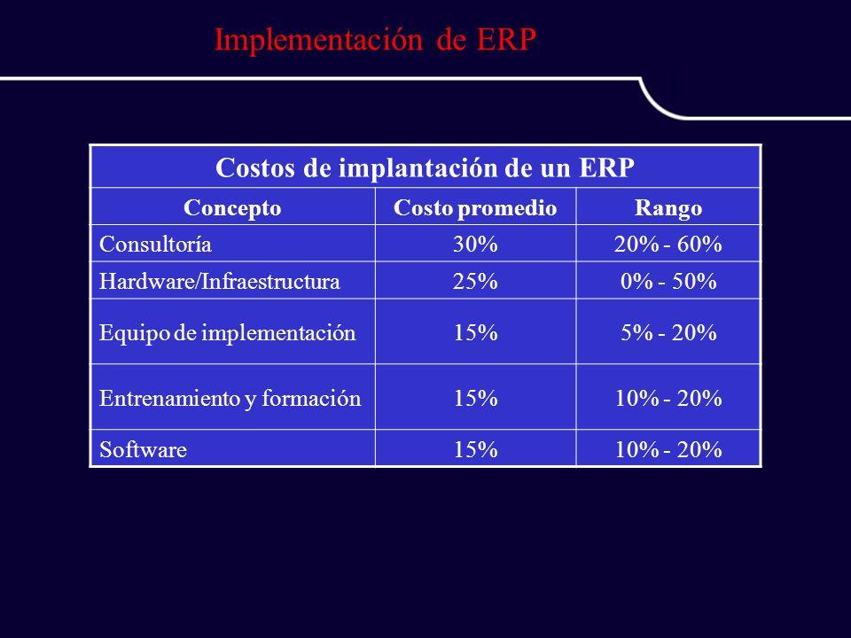 Costos de implantación de un ERP